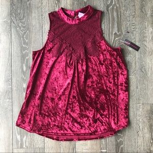 NWT Maroon Velvet And Lace Tank